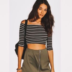 Boohoo Striped Off the Shoulder Ribbed Crop Top